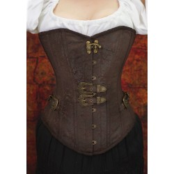 Steampunk overbust corset with double buckles